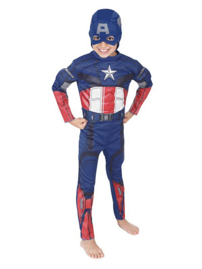 Captain America Delluxe Costume - Size 6-8-Costumes - Boys-Jokers Costume Hire and Sales Mega Store