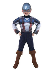Captain America Deluxe Costume - Size 3-5-Costumes - Boys-Jokers Costume Hire and Sales Mega Store