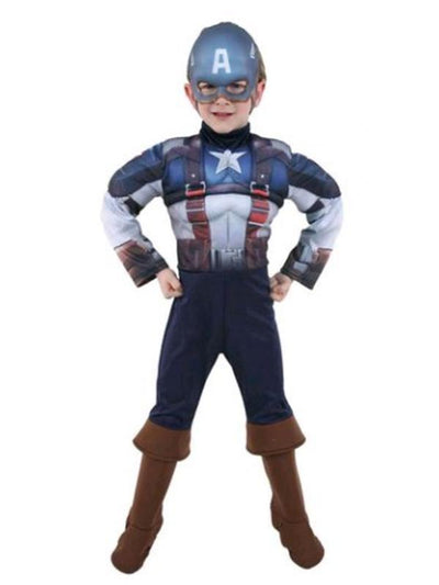 Captain America Deluxe Costume - Size 6-8-Costumes - Boys-Jokers Costume Hire and Sales Mega Store