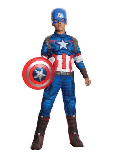 Captain America Deluxe Costume - Size L-Costumes - Boys-Jokers Costume Hire and Sales Mega Store