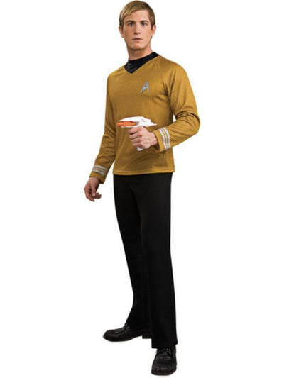 Captain Kirk Star Trek Deluxe Gold Shirt - Size L-Costumes - Mens-Jokers Costume Hire and Sales Mega Store
