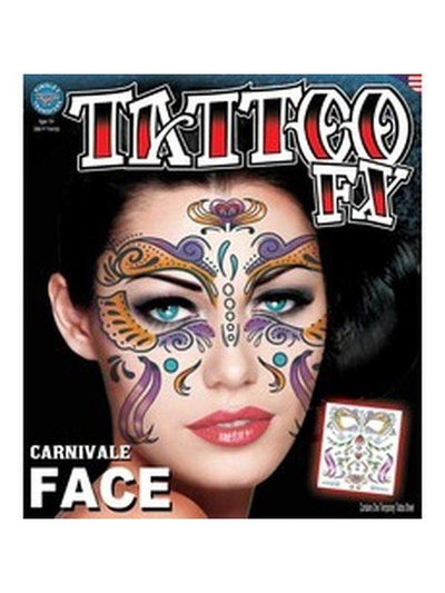 Carnivale' Face Full Face Temporary Tattoo-Jokers Costume Mega Store