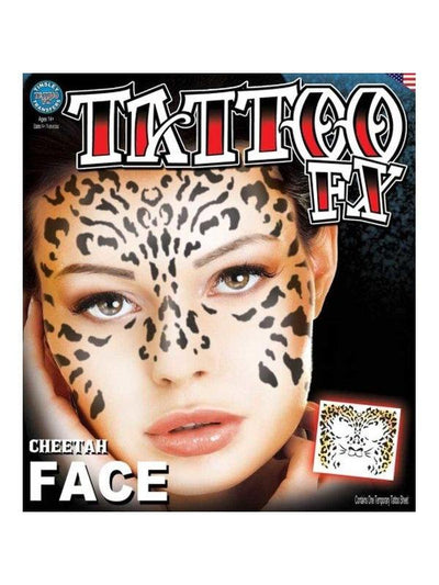 Cheetah Full Face Temporary Tattoo-Jokers Costume Mega Store