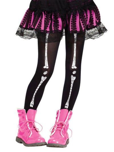 Child Footless Tights - Crackle Bones.-Leg Wear-Jokers Costume Hire and Sales Mega Store