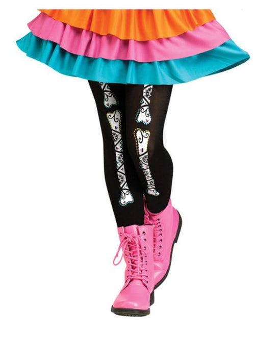 Child Footless Tights - Day of the Dead.-Leg Wear-Jokers Costume Hire and Sales Mega Store