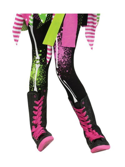 Child Footless Tights - Neon Bones-Leg Wear-Jokers Costume Hire and Sales Mega Store