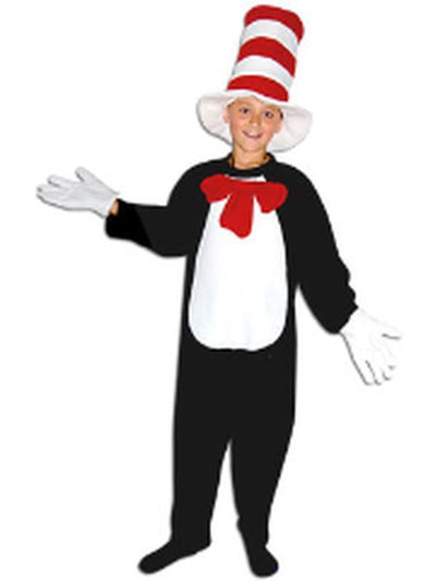 Child Onesie - Cat with Hat - Large-Costumes - Boys-Jokers Costume Hire and Sales Mega Store