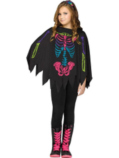 Child Skeleton Poncho - Colour Skeleton-Costumes - Girls-Jokers Costume Hire and Sales Mega Store