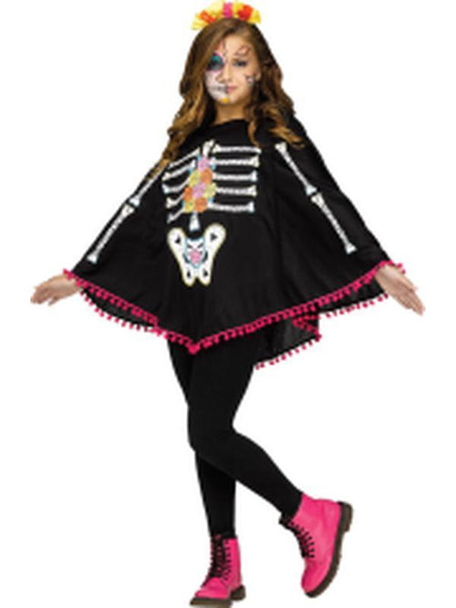 Child Skeleton Poncho - Day of the Dead-Costumes - Girls-Jokers Costume Hire and Sales Mega Store