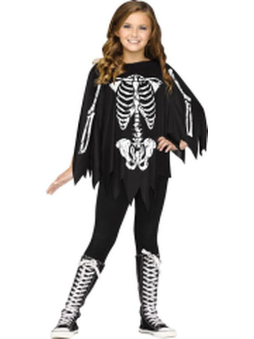 Child Skeleton Poncho - Skeleton-Costumes - Girls-Jokers Costume Hire and Sales Mega Store