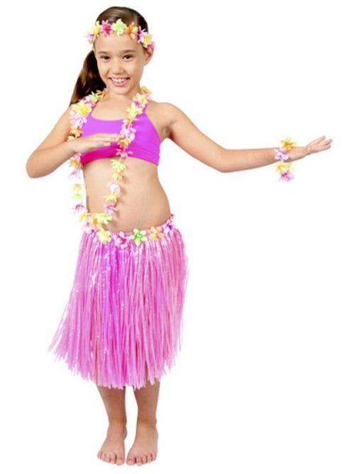 Childs Hula Set Deluxe - Pink-Costumes - Girls-Jokers Costume Hire and Sales Mega Store