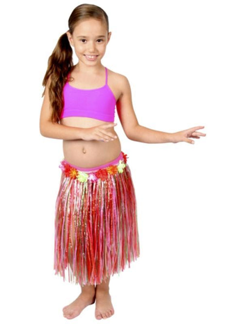 Childs Hula Skirt - Multi w/Flowers-Costumes - Girls-Jokers Costume Hire and Sales Mega Store