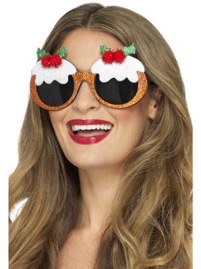 Christmas Pudding Glasses-Jokers Costume Mega Store