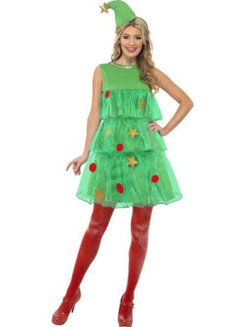 Christmas Tree Costume with Dress & Hat-Costumes - Women-Jokers Costume Hire and Sales Mega Store