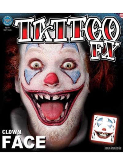Clown Face - Full Face Temporary Tattoo-Jokers Costume Mega Store