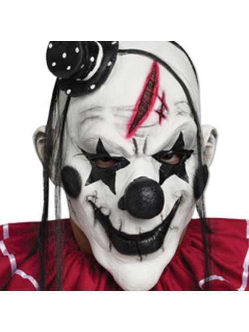 Clown Mask Black and White-Masks - Halloween-Jokers Costume Hire and Sales Mega Store