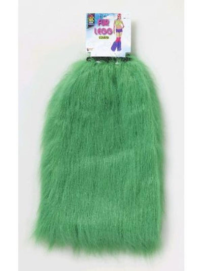 Club Candy Fur Leg Covers - Green-Leg Wear-Jokers Costume Hire and Sales Mega Store