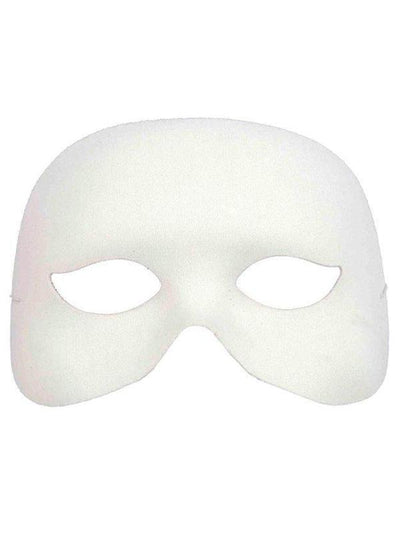 Cocktail Half Mask - White-Masks - Masquerade-Jokers Costume Hire and Sales Mega Store