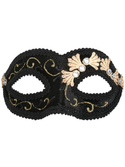 COCO Black Velvet Eye Mask-Masks - Masquerade-Jokers Costume Hire and Sales Mega Store