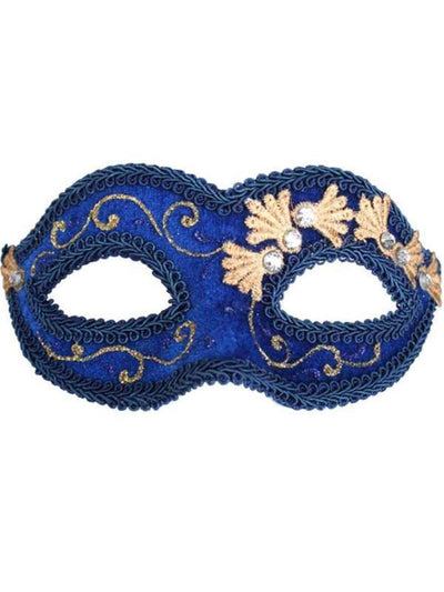 COCO Blue Velvet Eye Mask-Masks - Masquerade-Jokers Costume Hire and Sales Mega Store