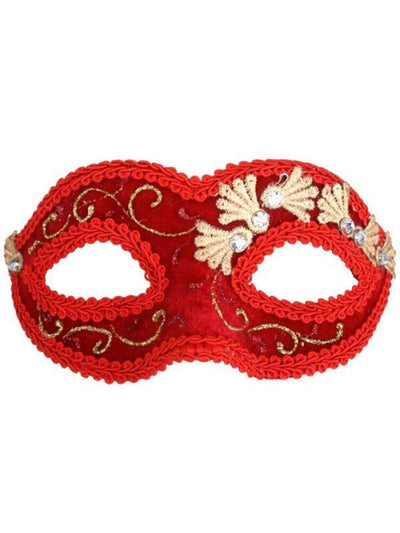 Coco Velvet Eye Mask - Red-Masks - Masquerade-Jokers Costume Hire and Sales Mega Store