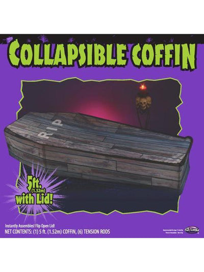 Collapsible Coffin - Wood Grain-Halloween Props and Decorations-Jokers Costume Hire and Sales Mega Store