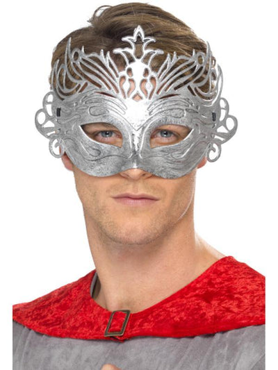 Colombina Silver Mask-Masks - Masquerade-Jokers Costume Hire and Sales Mega Store