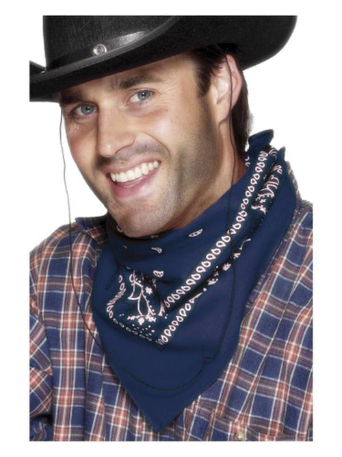 Cowboy Bandana, Blue, Western Design-Hats and Headwear-Jokers Costume Hire and Sales Mega Store