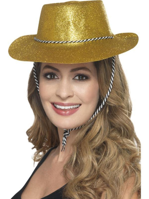 Cowboy Glitter Hat - Gold-Hats and Headwear-Jokers Costume Hire and Sales Mega Store