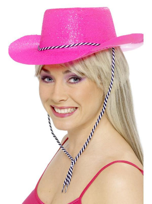 Cowboy Glitter Hat - Neon Pink, with Cord-Hats and Headwear-Jokers Costume Hire and Sales Mega Store