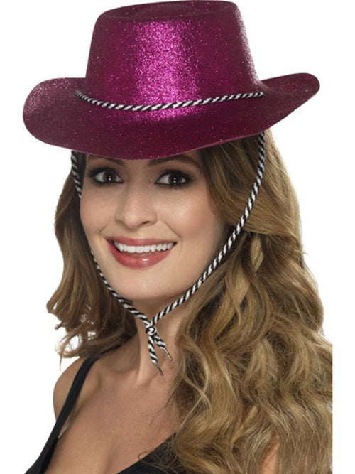 Cowboy Glitter Hat - Pink-Hats and Headwear-Jokers Costume Hire and Sales Mega Store