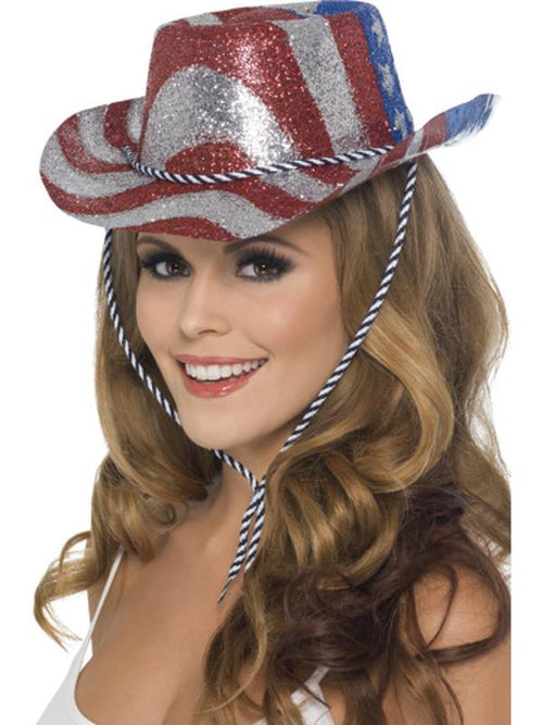 Cowboy Glitter Hat, Red, Silver and Blue-Hats and Headwear-Jokers Costume Hire and Sales Mega Store