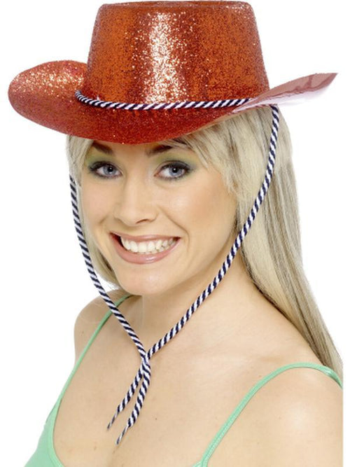 Cowboy Glitter Hat - Red-Hats and Headwear-Jokers Costume Hire and Sales Mega Store