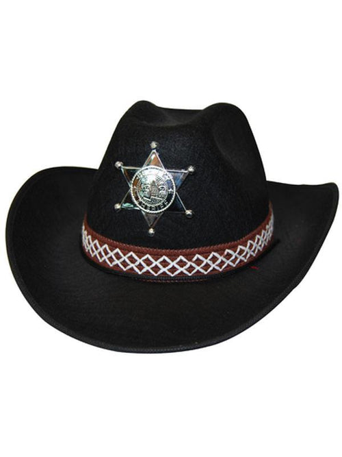 Cowboy Hat - Black Feltex-Hats and Headwear-Jokers Costume Hire and Sales Mega Store