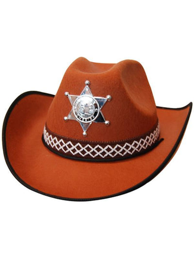 Cowboy Hat - Brown Feltex-Hats and Headwear-Jokers Costume Hire and Sales Mega Store