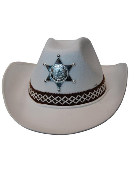 Cowboy Hat - White Feltex-Hats and Headwear-Jokers Costume Hire and Sales Mega Store