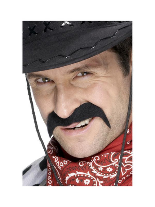 Cowboy Tash - Black-Beards and Moustaches-Jokers Costume Hire and Sales Mega Store