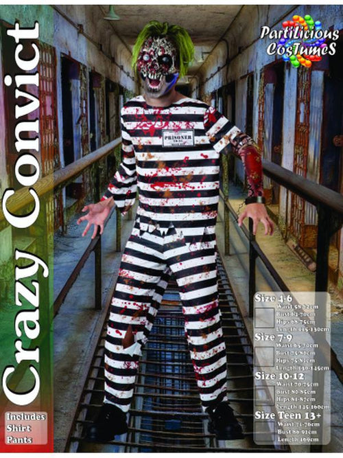 Crazy Convict Costume-Costumes - Boys-Jokers Costume Hire and Sales Mega Store