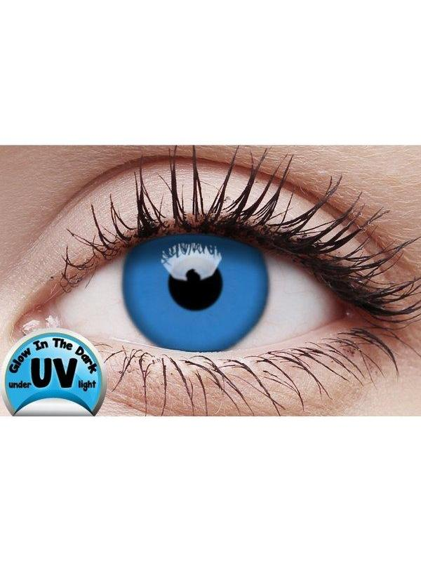 Crazy Lens Contacts - UV Glow Blue-Jokers Costume Mega Store