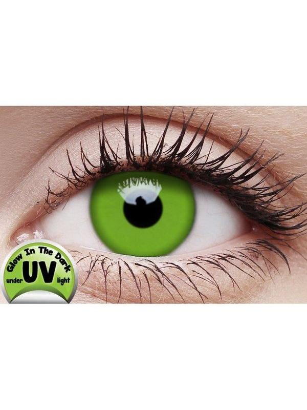 Crazy Lens Contacts - UV Glow Green-Jokers Costume Mega Store