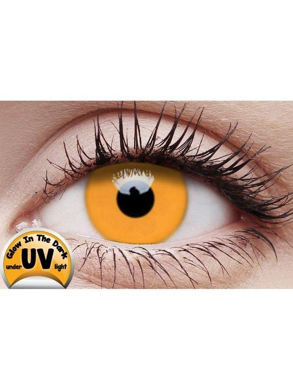 Crazy Lens Contacts - UV Glow Orange-Jokers Costume Mega Store