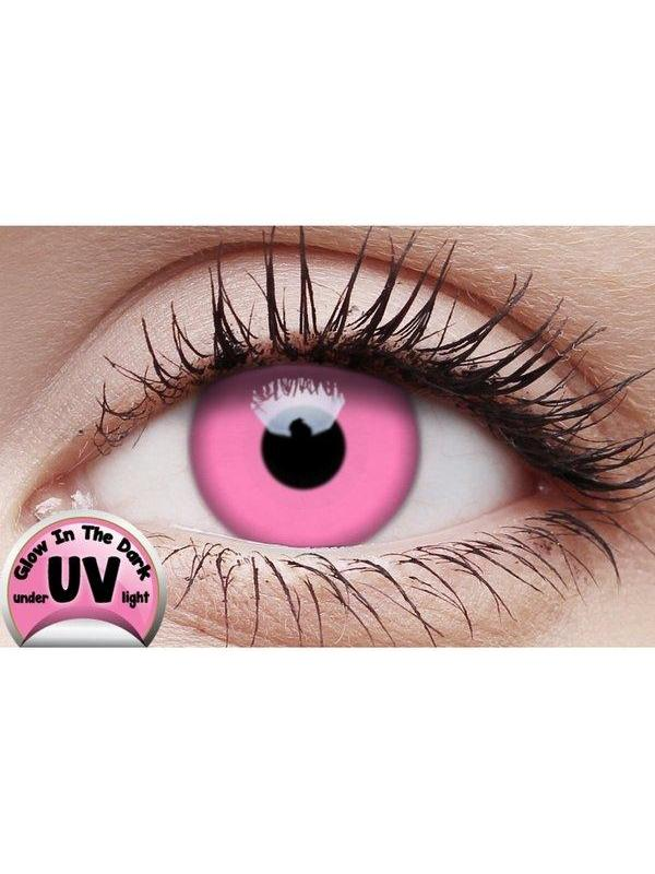 Crazy Lens Contacts - UV Glow Pink-Jokers Costume Mega Store