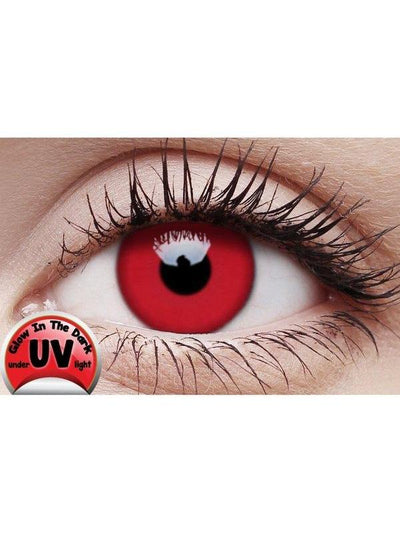 Crazy Lens Contacts - UV Glow Red-Jokers Costume Mega Store