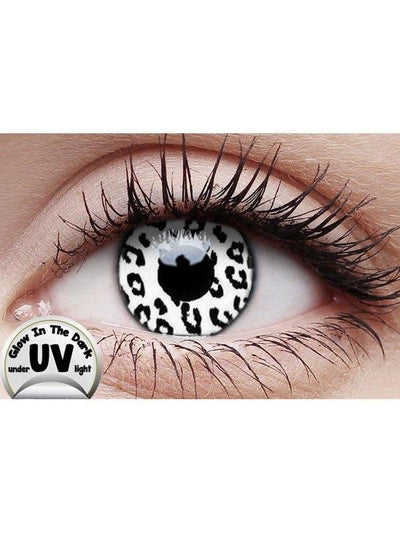 Crazy Lens Contacts - UV Glow White Leop-Jokers Costume Mega Store