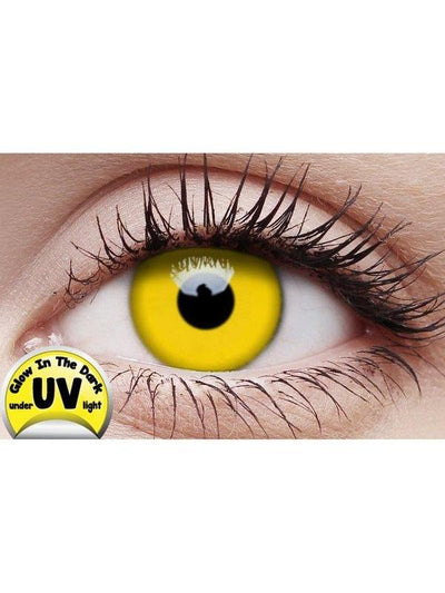 Crazy Lens Contacts - UV Glow Yellow-Jokers Costume Mega Store