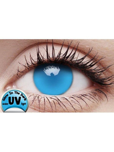 Crazy Lens Contacts - UV Magic Glow Blue-Jokers Costume Mega Store