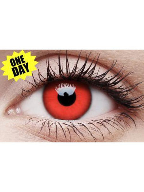 Crazy One-Day Contact Lens - Red Devil-Contact Lens - Crazy One Day-Jokers Costume Hire and Sales Mega Store