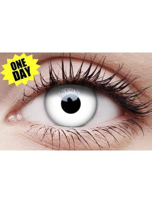Crazy One-Day Contact Lens - Whiteout-Contact Lens - Crazy One Day-Jokers Costume Hire and Sales Mega Store