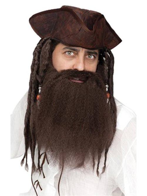 Crimped Pirate Beard - Brown-Beards and Moustaches-Jokers Costume Hire and Sales Mega Store