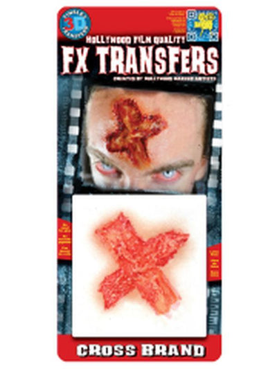 Cross Brand 3D FX Transfer - Small-Halloween Makeup & Special FX-Jokers Costume Hire and Sales Mega Store